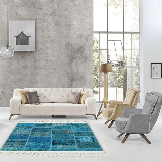 baskılı kilim modern patchwork efektli̇ mavi renk