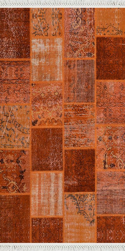 baskılı kilim modern patchwork efektli̇ oranj renk