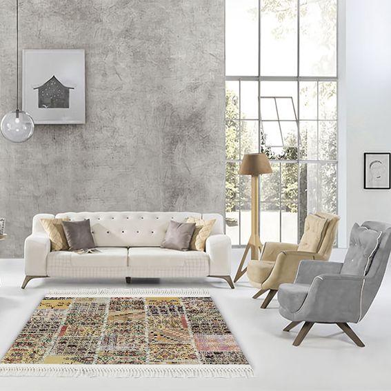 baskılı kilim modern patchwork efektli̇ soft renkli