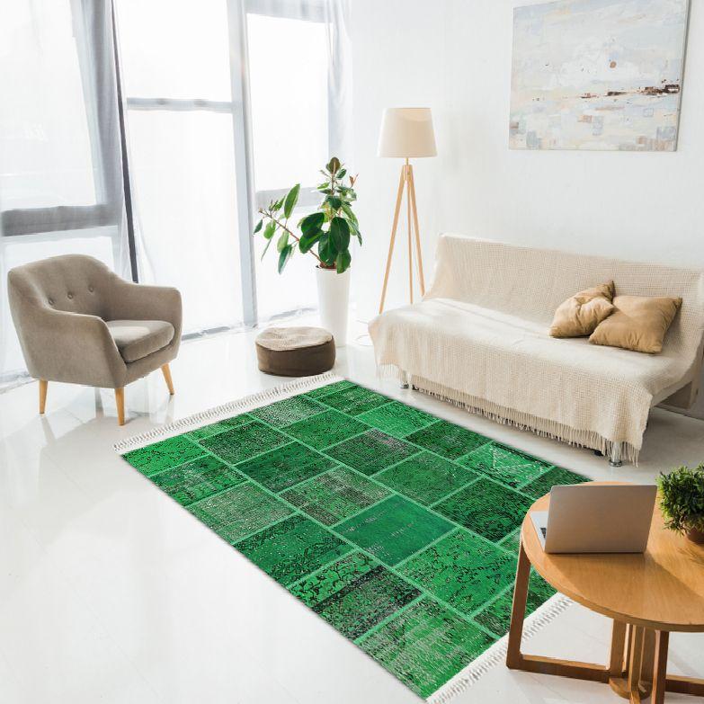 baskılı kilim modern patchwork efektli̇ yeşil renk