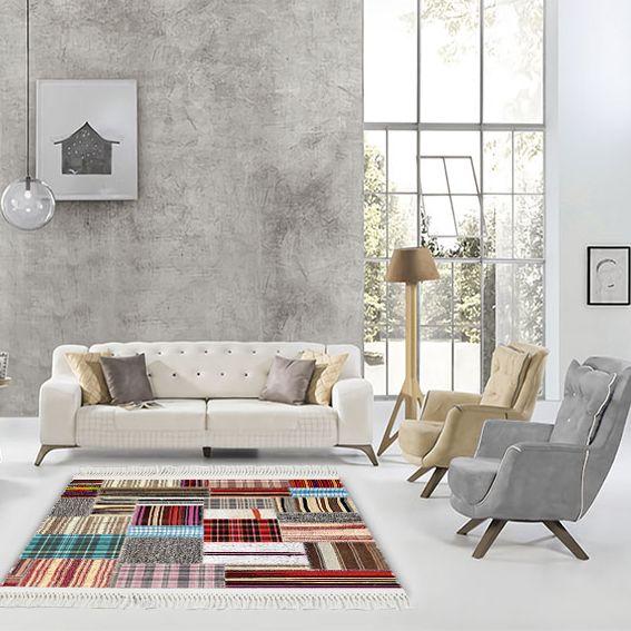 baskılı kilim modern patchwork ekose çizgili desenli