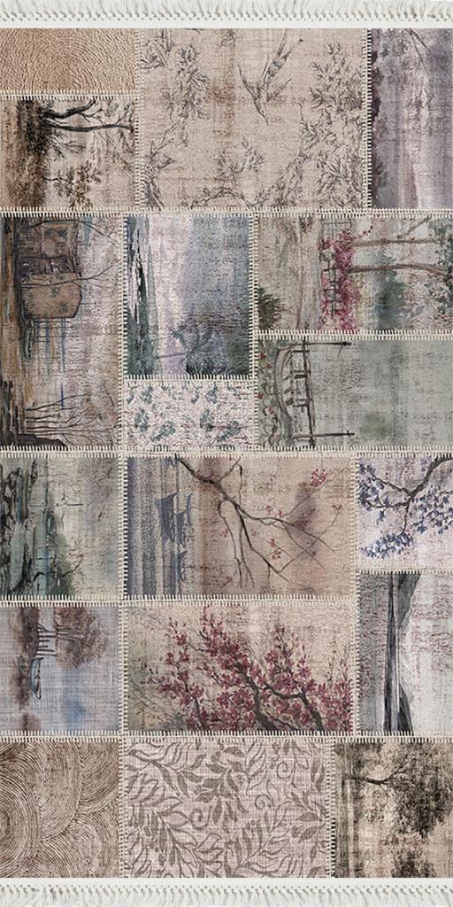baskılı kilim modern patchwork japon doğal desenli