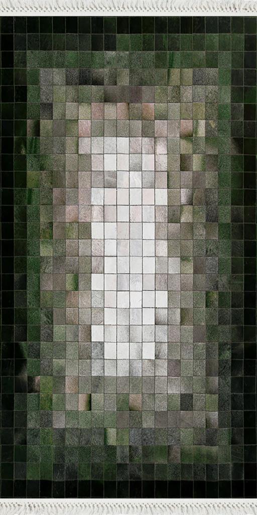 baskılı kilim modern patchwork kare desen haki yeşil bej