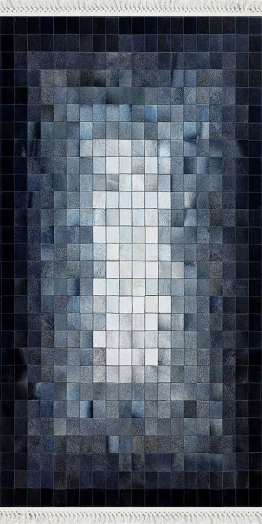 baskılı kilim modern patchwork kare desen laci mavi bej