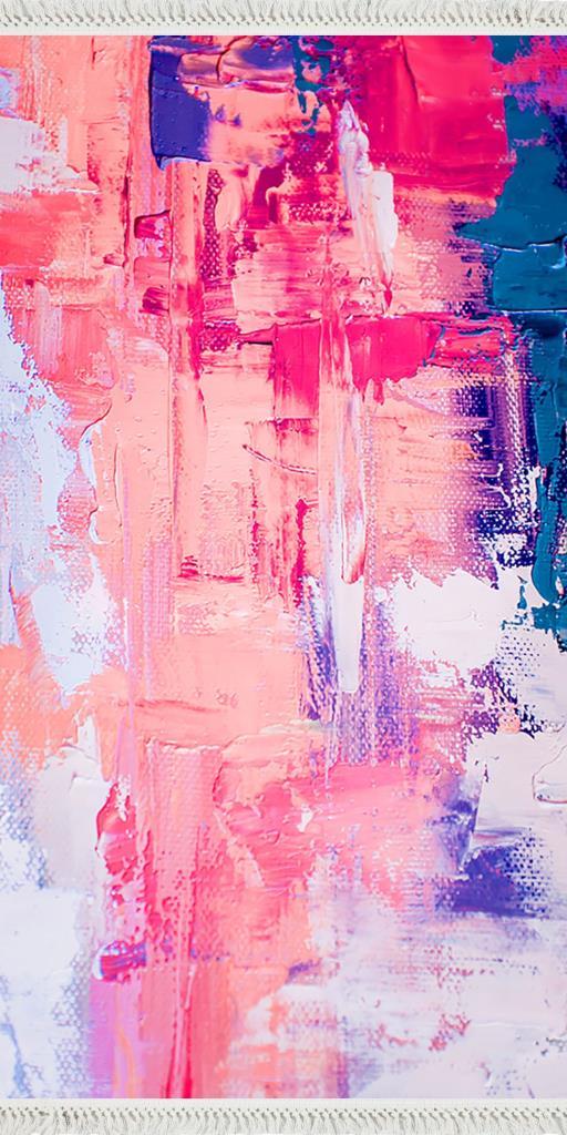 baskılı kilim modern suluboya fırça desenli somon renk