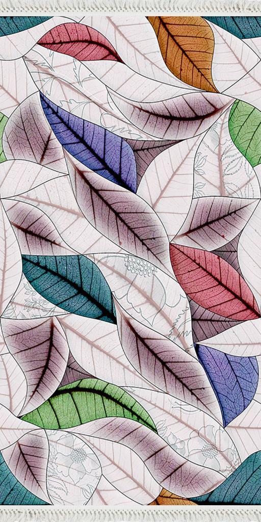 baskılı kilim modern yaprak desenli karışık renkli