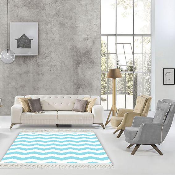 baskılı kilim modern zigzag desenli bebek mavi beyaz