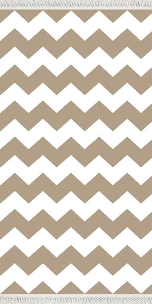 baskılı kilim modern zigzag desenli bej beyaz