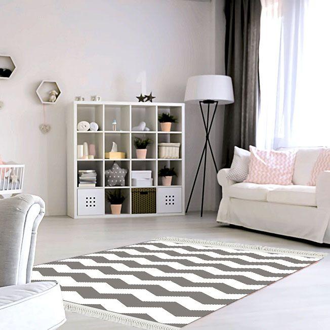 baskılı kilim modern zigzag desenli gri beyaz