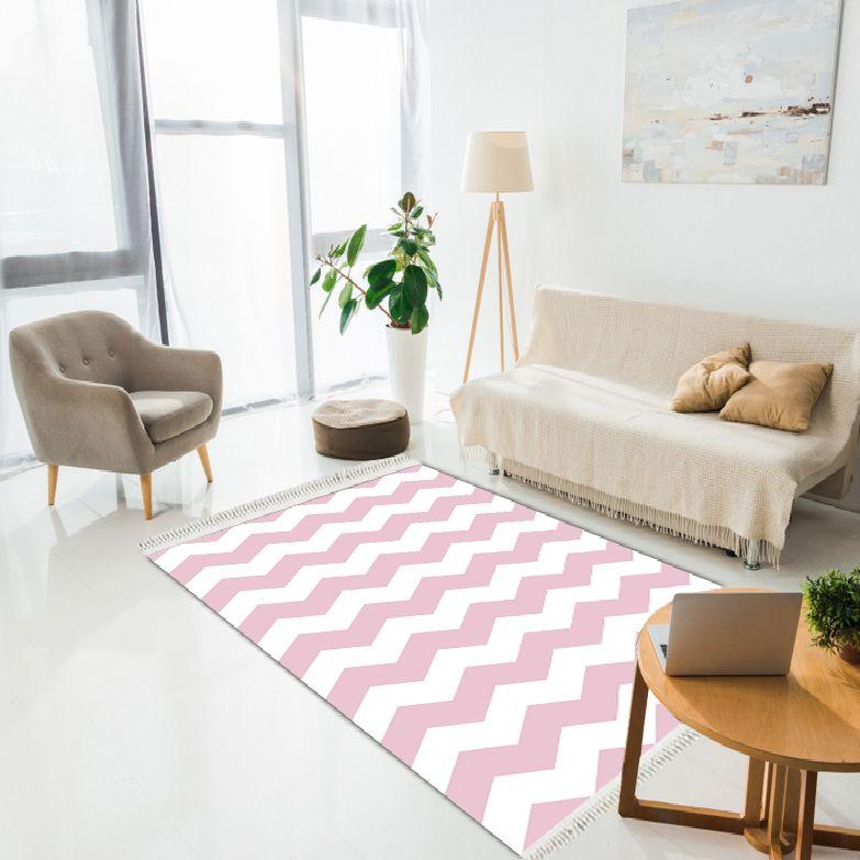 baskılı kilim modern zigzag desenli pembe beyaz