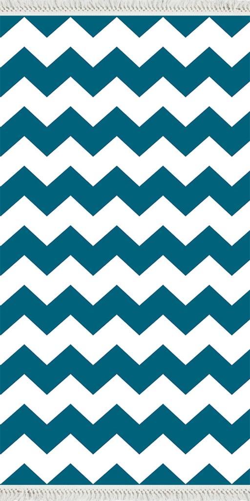 baskılı kilim modern zigzag desenli petrol mavi beyaz