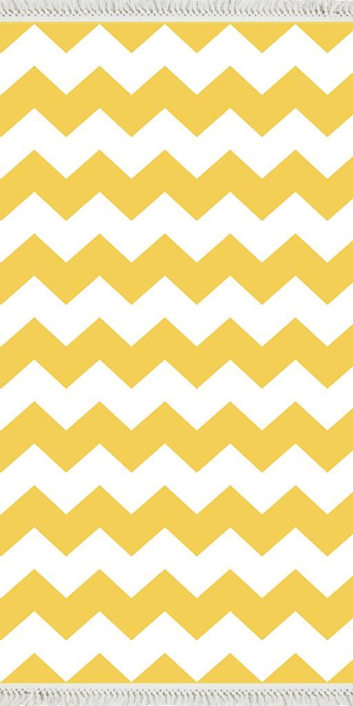 baskılı kilim modern zigzag desenli sarı beyaz
