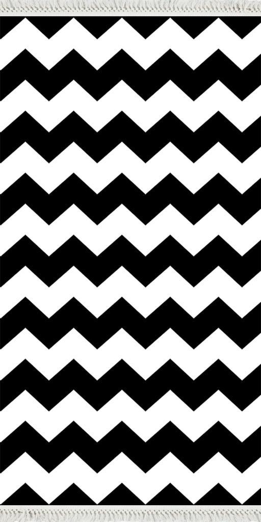 baskılı kilim modern zigzag desenli siyah beyaz