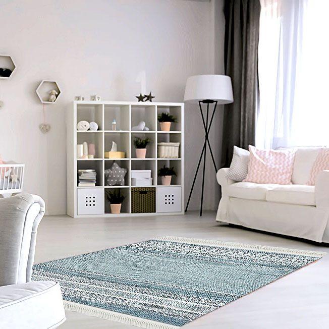baskılı kilim modern desen gri beyaz renkli