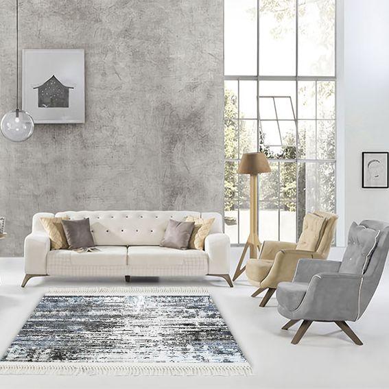 baskılı kilim modern desen gri füme beyaz