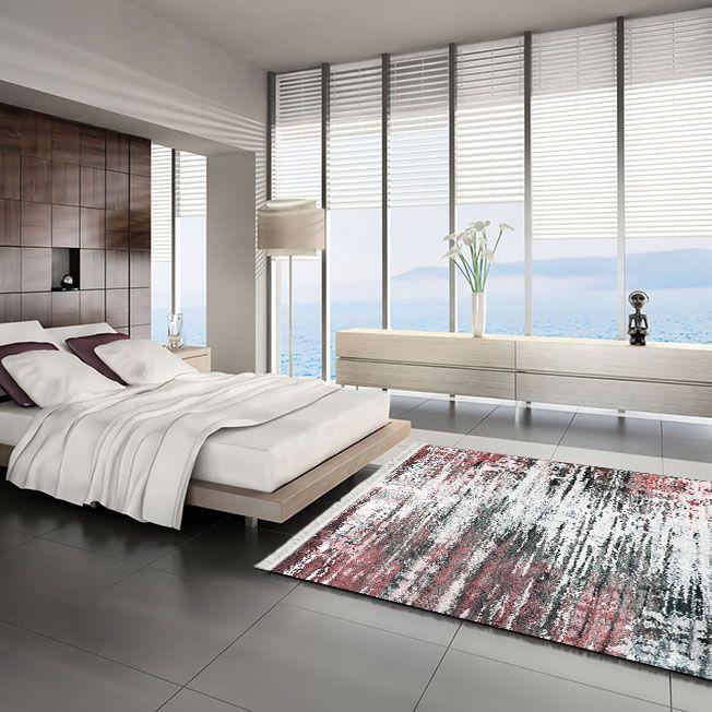 baskılı kilim modern desen pembe gri renkli