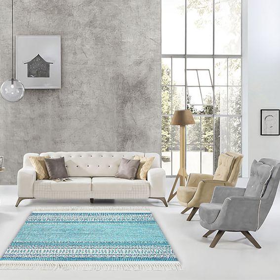 baskılı kilim modern desen turkuaz beyaz