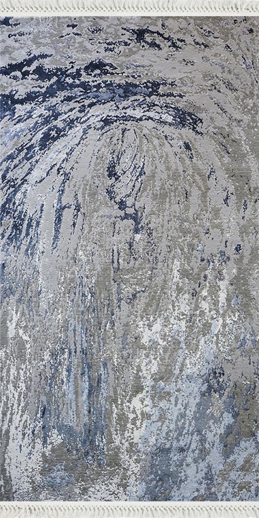 baskılı kilim modern eskitme laci mavi bej renkli