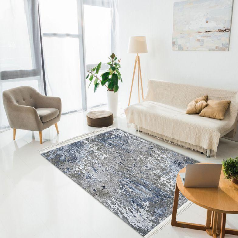 baskılı kilim modern eskitme lacivert beyaz bej renkli