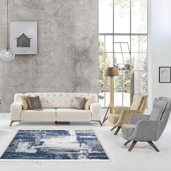 baskılı kilim modern eskitme mavi beyaz bej renkli
