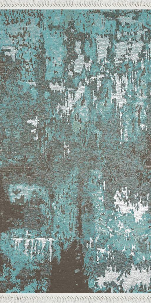 baskılı kilim modern eskitme mavi petrol ekru