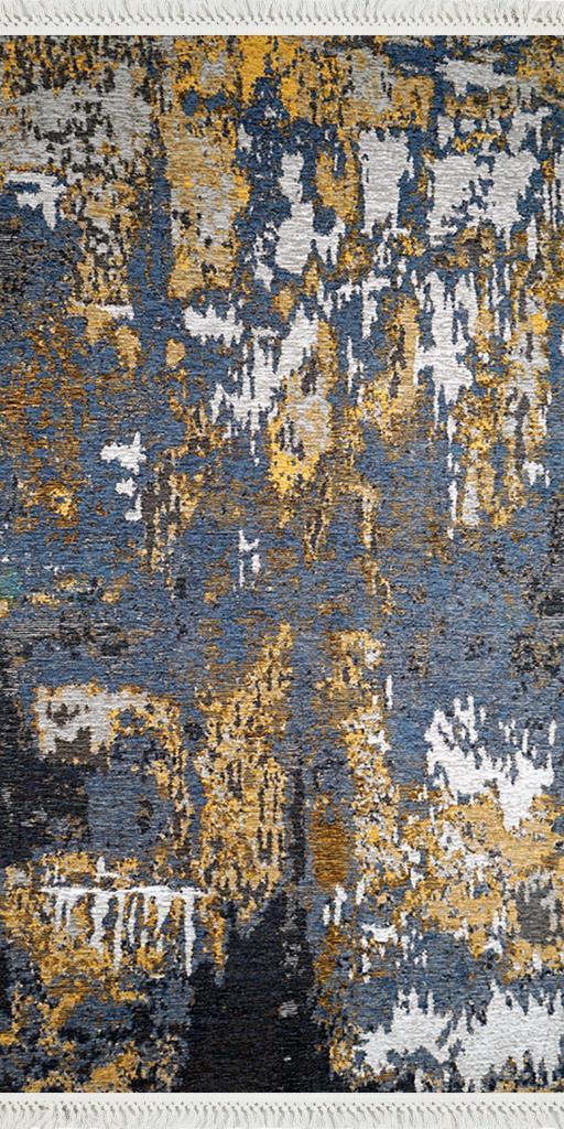 baskılı kilim modern eskitme mavi sarı bej
