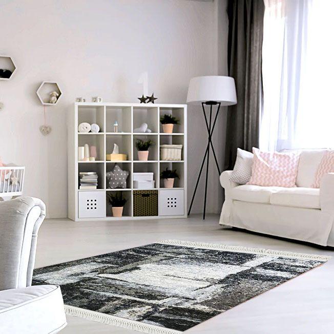 baskılı kilim modern eskitme siyah beyaz bej renk