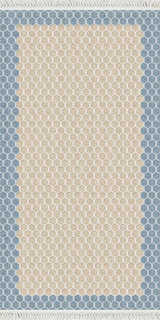 baskılı kilim modern  petek desen mavi bej