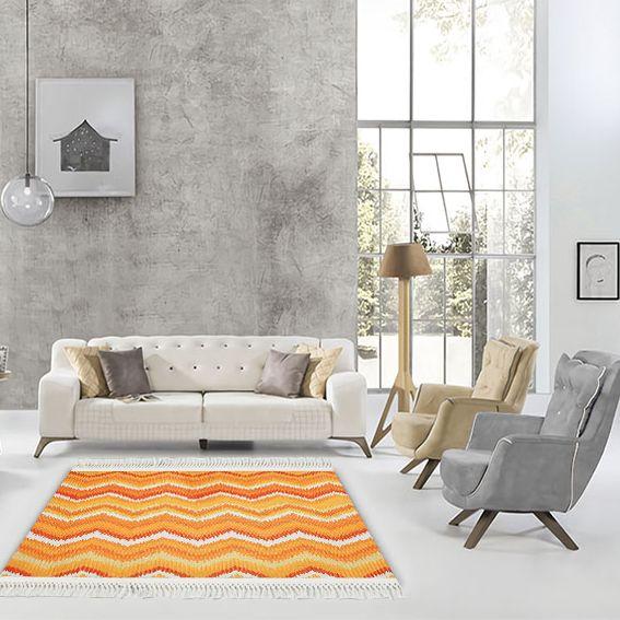 baskılı kilim modern zigzag desen sarı turuncu beyaz renkli