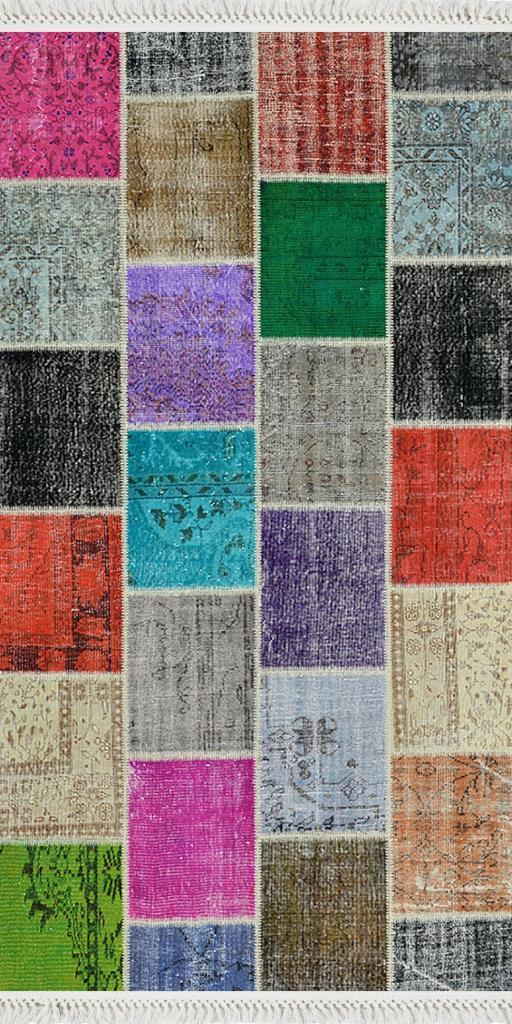baskılı kilim patchwork eskitme  desenli canlı renkli