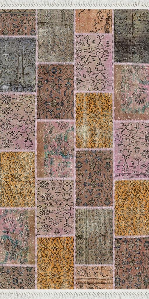 baskılı kilim patchwork eskitme  desenli lila renk