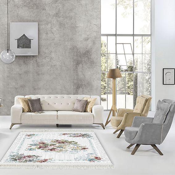 baskılı kilim vintage gül damask desenli