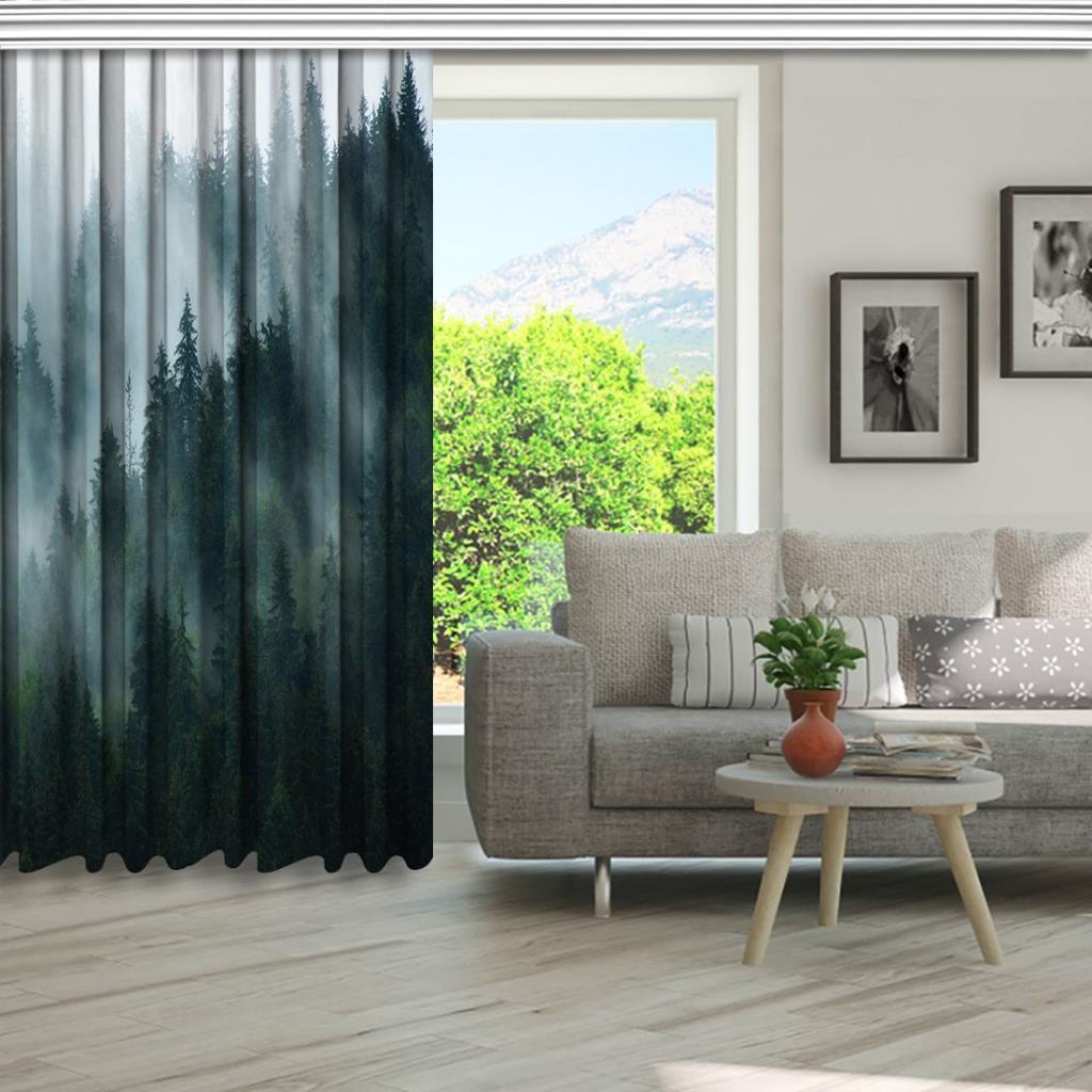 baskılı fon perde puslu manzara görünümlü çam ağaç desenli