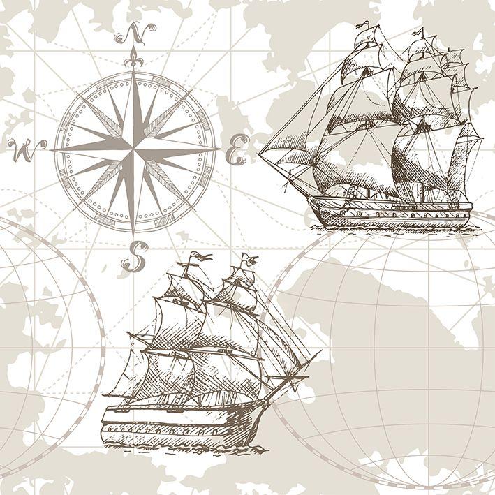 baskılı fon perde pusula yelkenli gemi desenli kahverengi