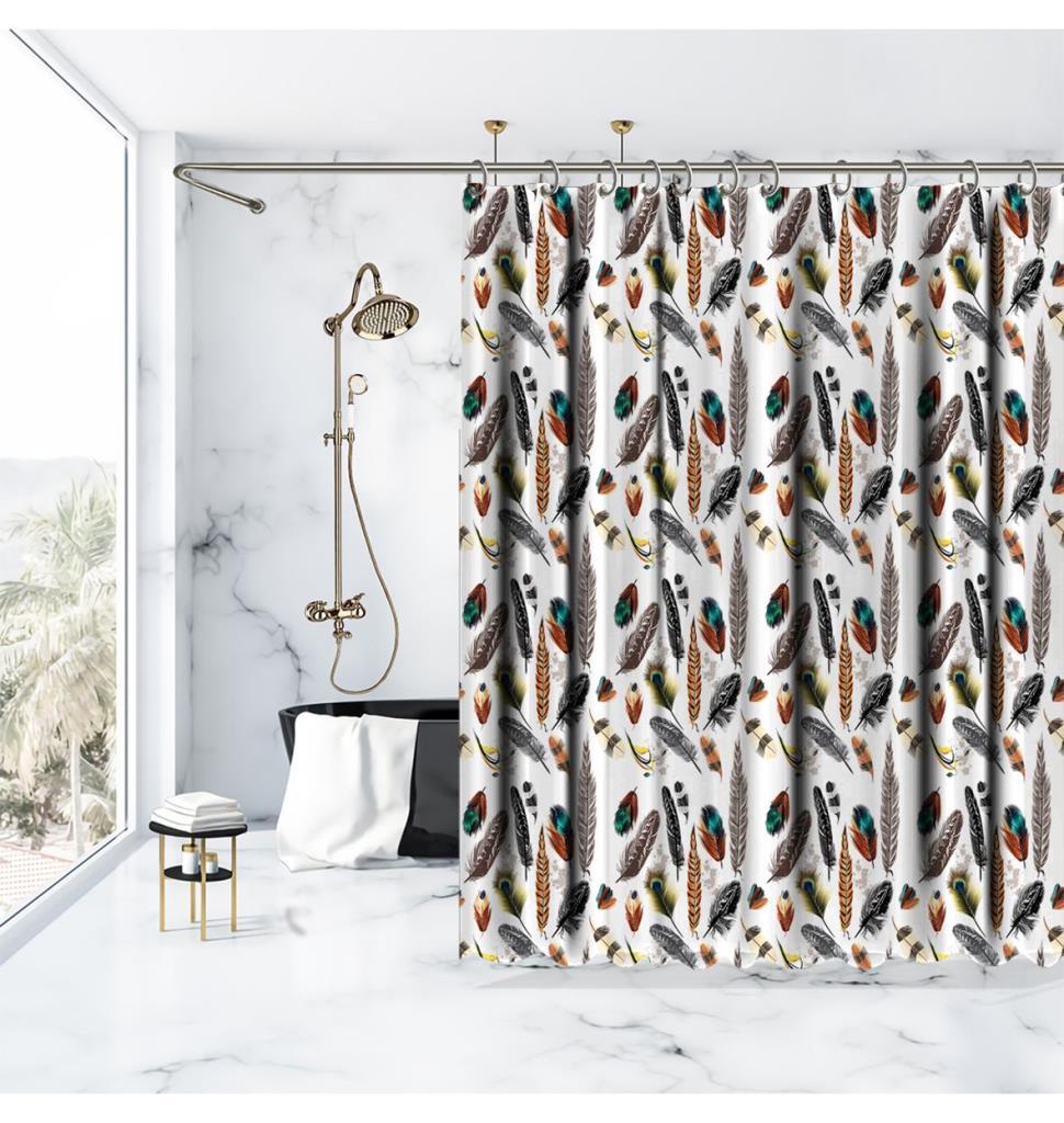 baskılı duş perde renkli kuş tüy desenli turkuaz kahverengi