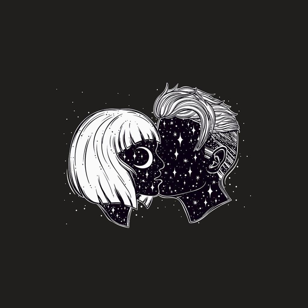 baskılı fon perde romantik aşk gökyüzü desenli lacivert