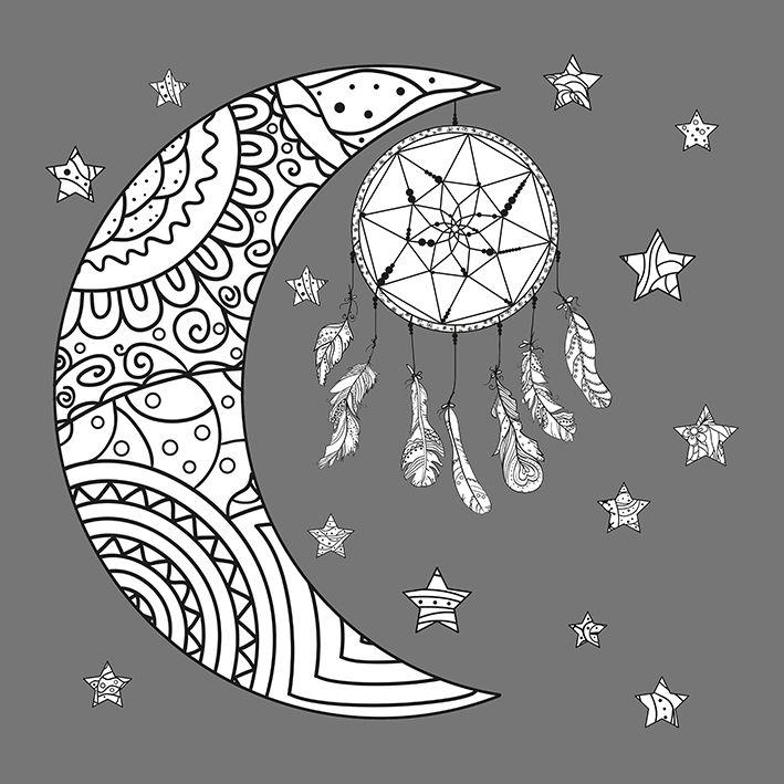 baskılı fon perde rüya kapanı etkili ay ve yıldız şekil desenli
