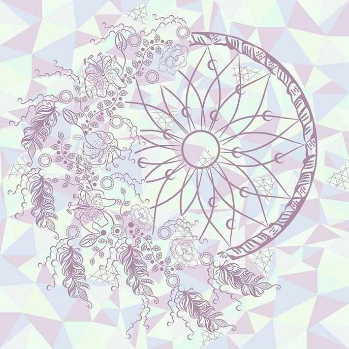 baskılı fon perde rüya kapanı etkili üçgen ve çiçek desenli