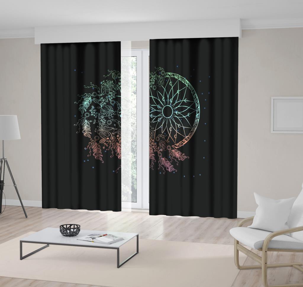 baskılı fon perde rüya kapanı ve çiçek etkili siyah arka plan desenli