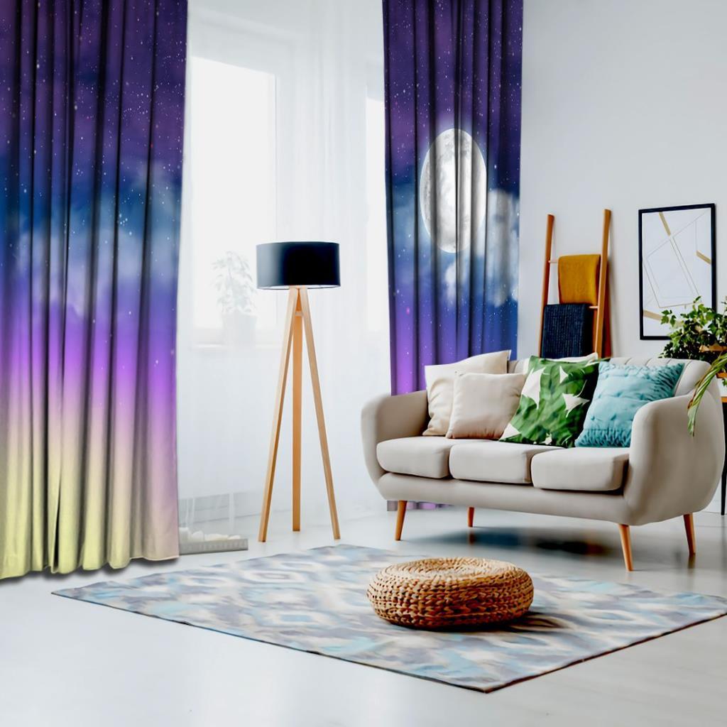 baskılı fon perde samanyolu renk efekt desenli mor mavi ve sarı