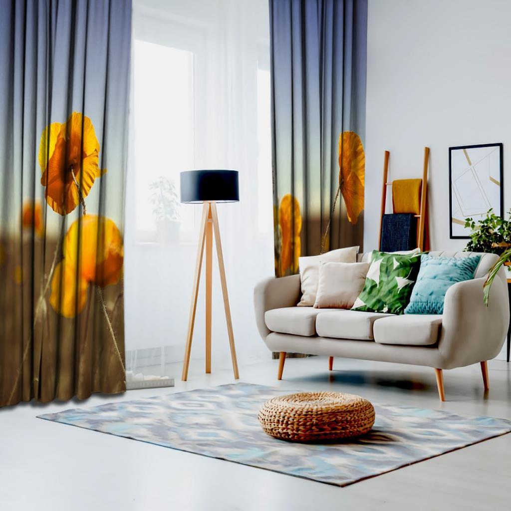 baskılı fon perde sarı çiçek etkili yeşil ve mavi arka plan desenli