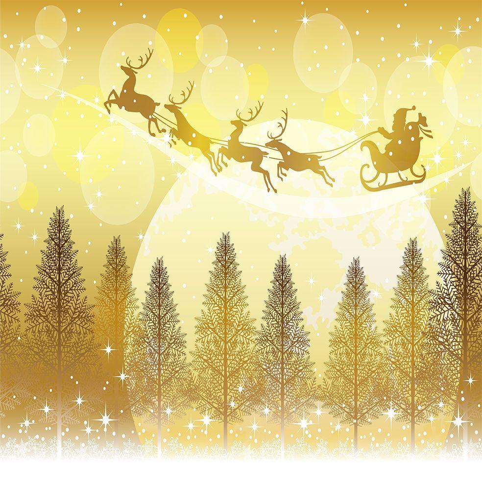 baskılı fon perde sarı gece ağaçlar üzerinde uçan kızaklı noel baba