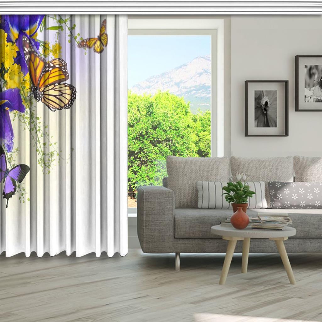 baskılı fon perde sarı papatya mor çiçek kelebek desenli
