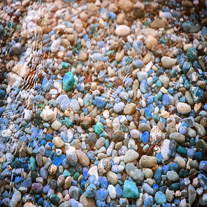 baskılı fon perde saydam su altı görünümlü renkli çakıl taş desenli