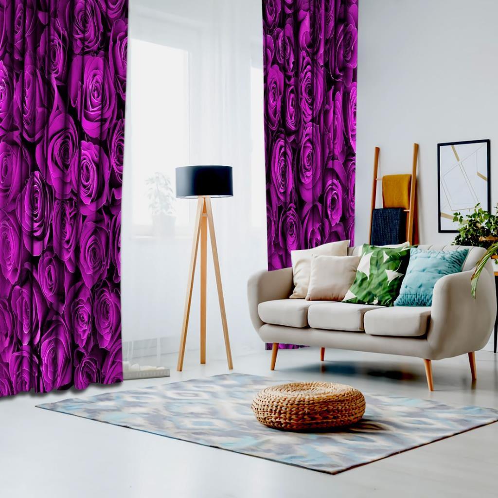 baskılı fon perde sıkı dizilmiş eflatun renkli güller desenli
