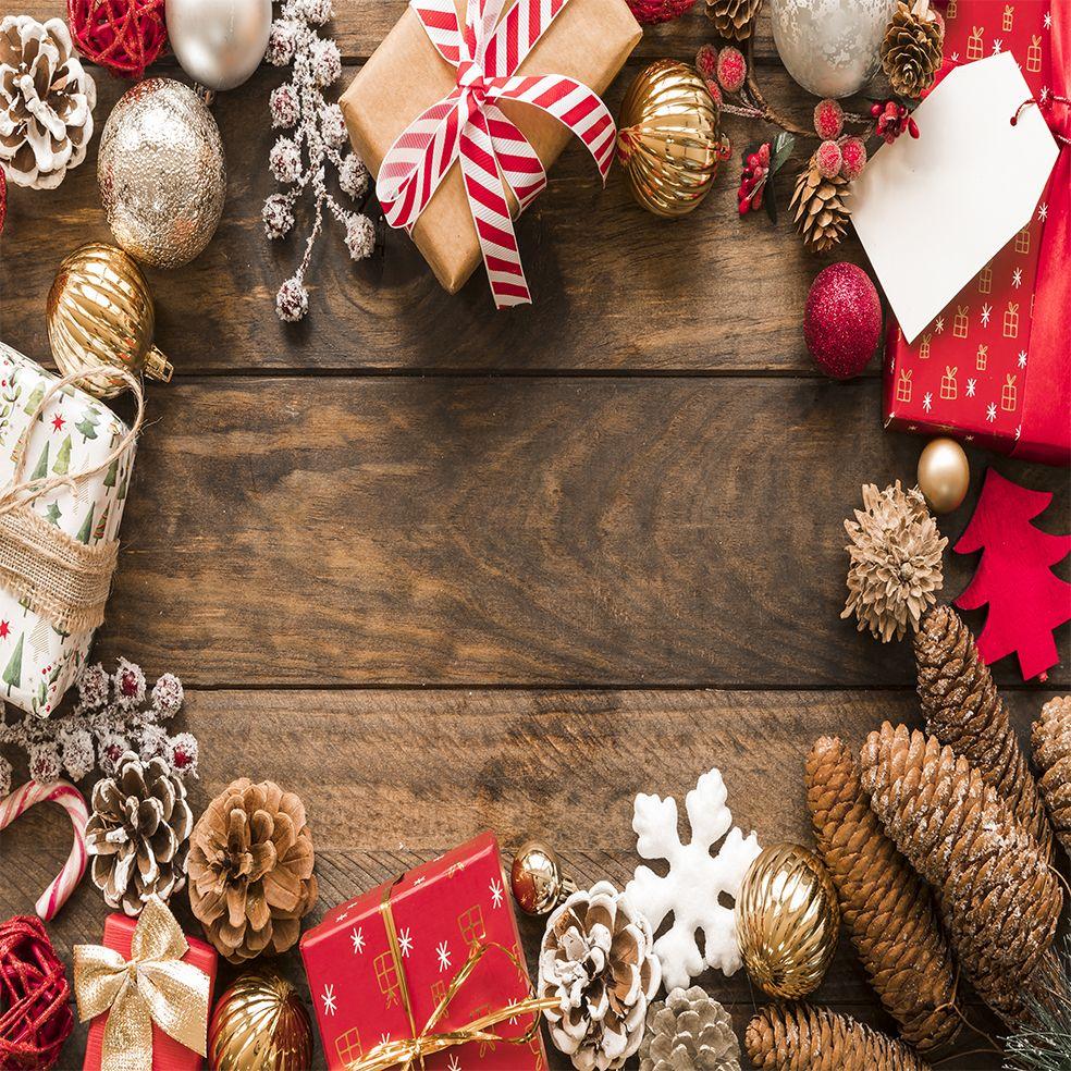 baskılı fon perde simli noel süsleri kırmızı yeni yıl hediyeli ahşap