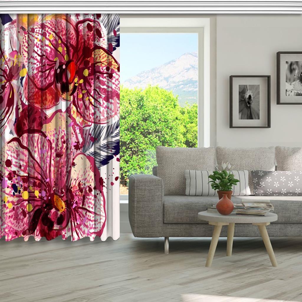 baskılı fon perde sıuluboya sıçrama efektli gülkurusu orkide desenli