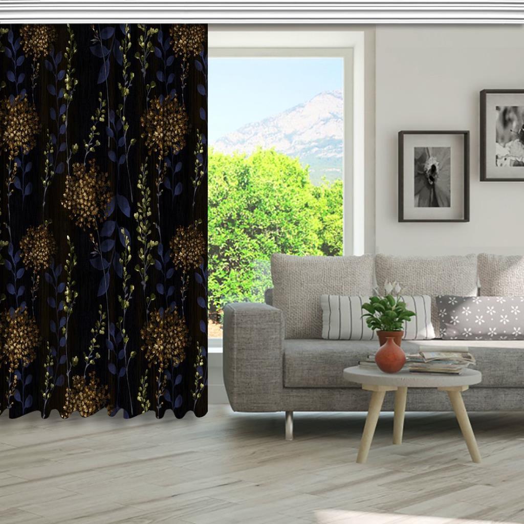 baskılı fon perde siyah arka plan etkili günebakan çiçek desenli