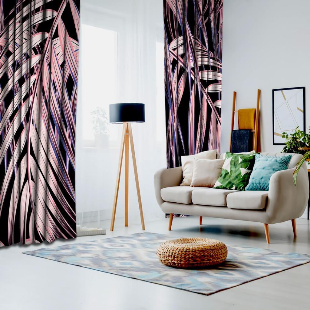 baskılı fon perde siyah arka plan etkili palmiye yaprak desenli