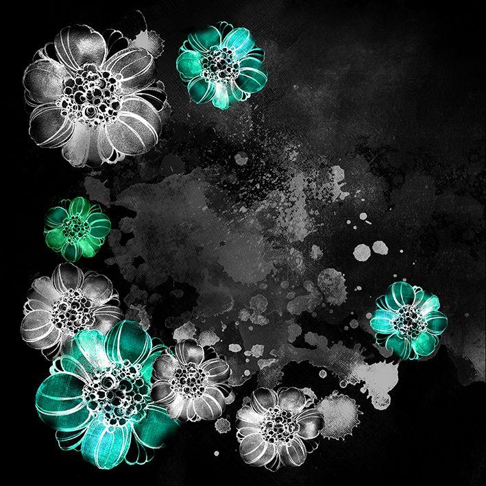 baskılı fon perde siyah arka plan etkili turkuaz ve gri çiçek desenli